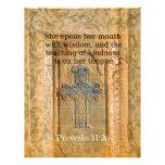 Verso hermoso de la biblia del 31:26 de los prover membrete