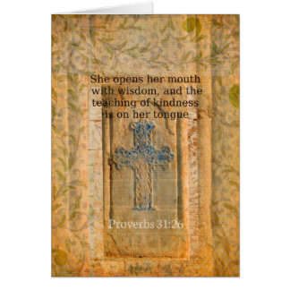 Verso hermoso de la biblia del 31:26 de los prover tarjeta de felicitación