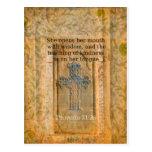 Verso hermoso de la biblia del 31:26 de los prover tarjetas postales