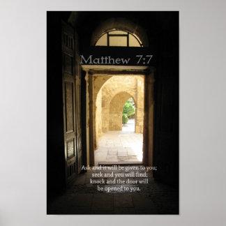Verso hermoso de la biblia del 7:7 de Matthew Póster