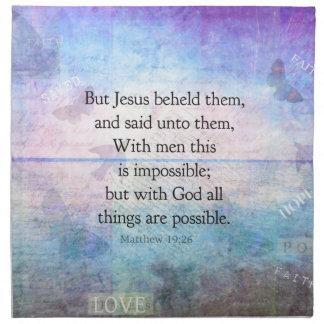 Verso inspirado de la biblia del 19:26 de Matthew  Servilletas Imprimidas