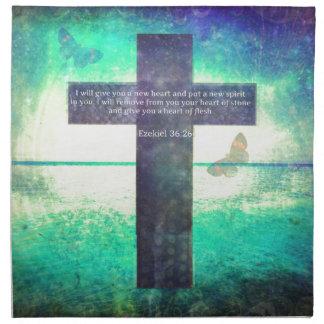 Verso inspirado de la biblia del 36:26 de Ezekiel Servilletas Imprimidas