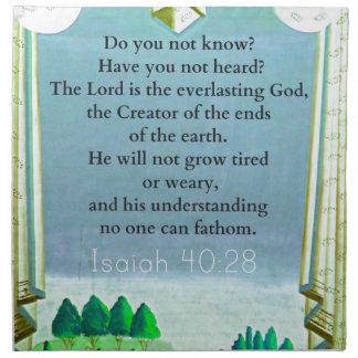 Verso inspirado de la BIBLIA del 40:28 de Isaías Servilleta Imprimida