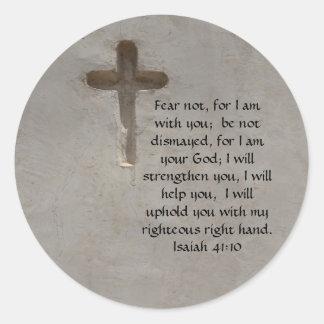 Verso inspirado de la biblia del 41:10 de Isaías Pegatina Redonda