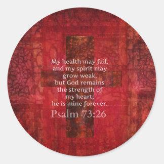 Verso inspirado de la BIBLIA del 73 26 del salmo Etiqueta Redonda
