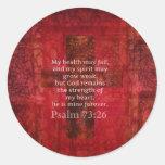 Verso inspirado de la BIBLIA del 73:26 del salmo Pegatina Redonda