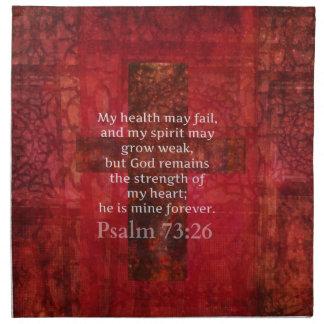 Verso inspirado de la BIBLIA del 73:26 del salmo Servilleta Imprimida