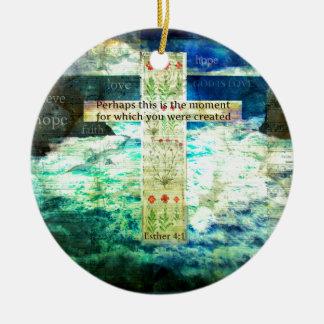 Verso inspirado de la biblia que eleva sobre vida adorno navideño redondo de cerámica