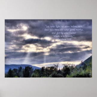 Verso ligero y oscuro de la impresión w/Scripture Póster