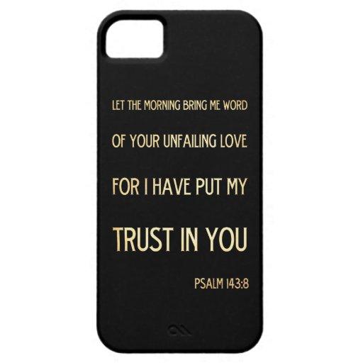 Verso Scriptural cristiano de la biblia - 143:8 iPhone 5 Carcasas