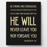 Verso Scriptural de la biblia - 31:6 de Deuteronom Placas De Plastico