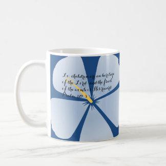 Verso tropical azul claro de la biblia de la taza