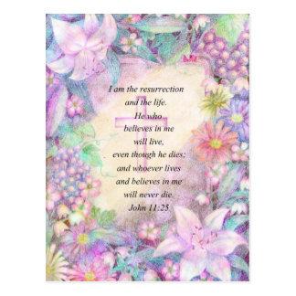 Verso y flores de la biblia postales