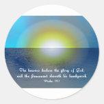 Verso y puesta del sol de la biblia etiqueta redonda