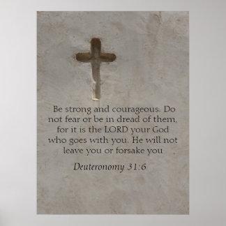 Versos de la biblia del 31:6 de Deuteronomy sobre  Posters