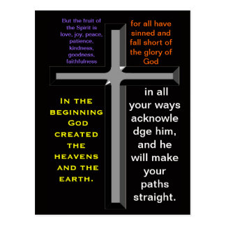 Versos de la biblia en una postal colorida