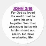 Versos de la biblia - Juan 3,16 KJV Pegatina Redonda