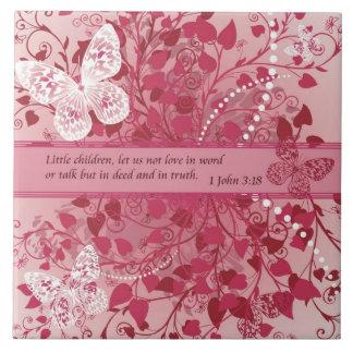 Versos de la biblia sobre el amor - 3:18 1John Azulejo Cuadrado Grande