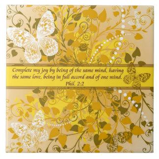 Versos de la biblia sobre el amor - boda Phil. 2:2 Azulejo Cuadrado Grande