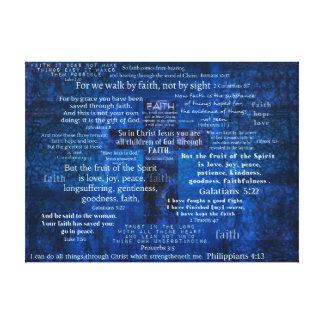 Versos inspirados de la biblia de la fe impresión en lienzo