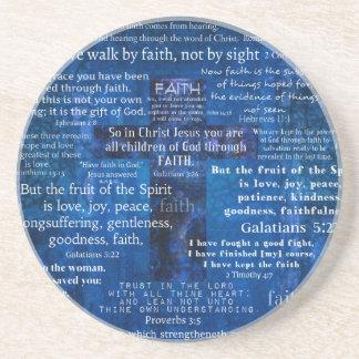 Versos inspirados de la biblia de la fe posavaso para bebida