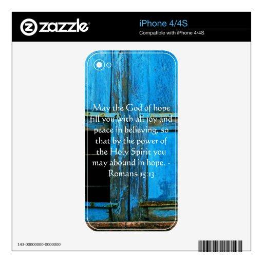 Versos inspirados de la biblia del 15:13 de los ro calcomanías para el iPhone 4