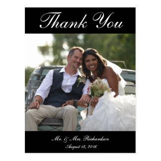 Vert. B&W Custom Wedding Photo Thank You Postcard