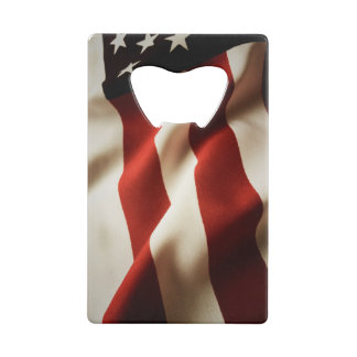 Vertical American flag Credit Card Bottle Opener