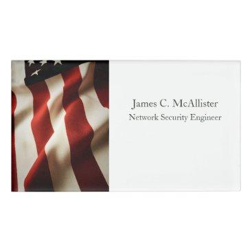 Vertical American flag Name Tag