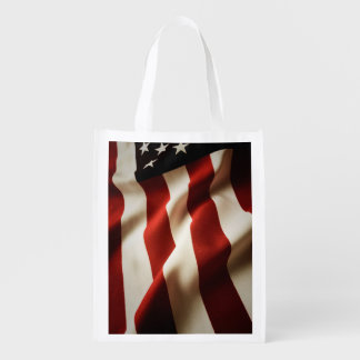 Vertical American flag Reusable Grocery Bag