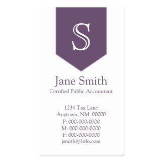 Vertical Arrow Monogram Business Card, Purple