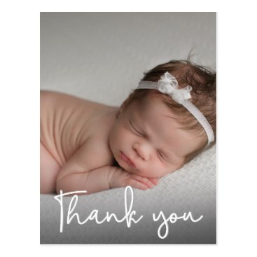 Vertical Baby girl Birth Announcement & Thank You Postcard