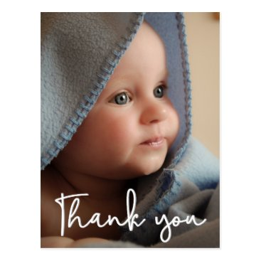 Vertical Baby Photo Birth Announcement Thank You Postcard