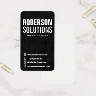Vertical black and white social media icons business card
