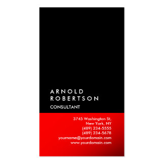Vertical Black Red Trendy Consultant Business Card