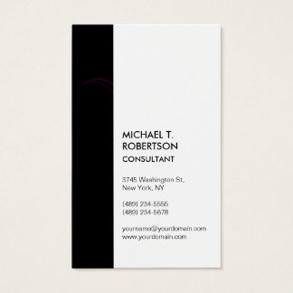 Vertical Black Stripe White Modern Stylish Amazing Business Card