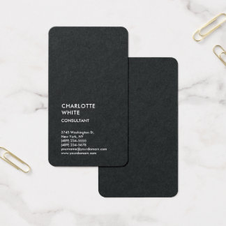 Vertical Black Trendy Minimalist Elegant Simple Business Card
