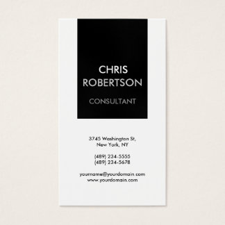 Vertical Black White Gray Attractive Business Card