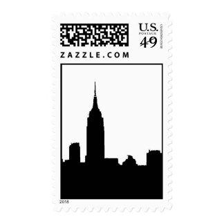 Vertical Black & White New York Silhouette Postage