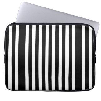 Vertical Black & White Pattern Laptop Computer Sleeve