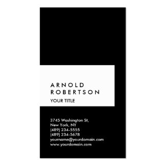 Vertical Black White Professional Business Card