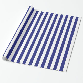 Vertical Blue and White Stripes Wrapping Paper
