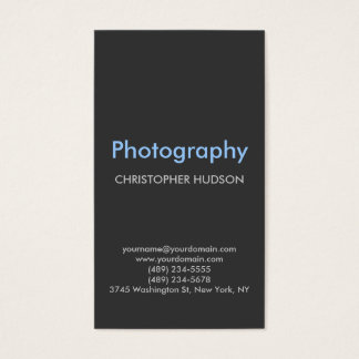 Vertical Blue Gray Plain Photography Business Card