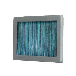 Vertical Blue Wood Rectangular Belt Buckle
