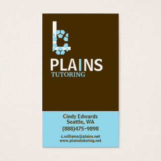 Vertical Brown and Aqua Business Card