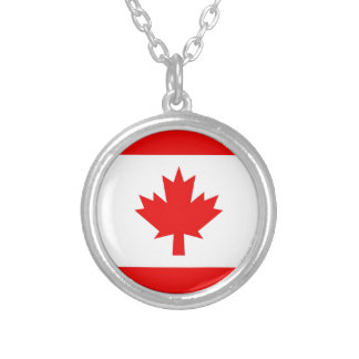 Vertical Canadian Flag Round Pendant Necklace