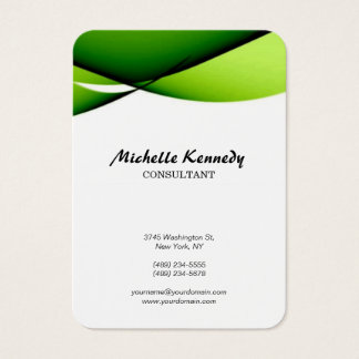 Vertical Chubby Abstract Curves Green White Script Business Card