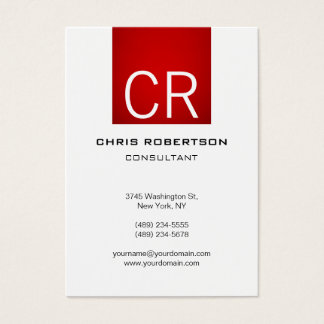 Vertical Chubby Red Stripe White Business Card