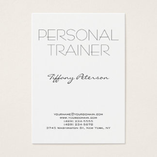 Vertical Clean White Plain Simple Personal Trainer Business Card