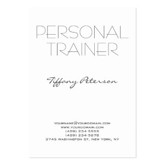Vertical Clean White Plain Simple Personal Trainer Large Business Card